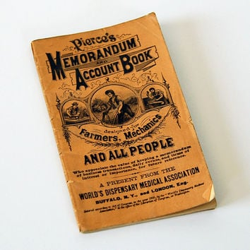 Pierce's Memorandum and Account Book Quack by BoldSparrowVintage