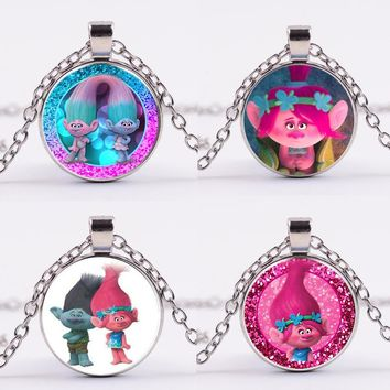 6 Styles Movie Poppy Trolls Figure Alloy Trolls Birthday Party Gift Keychain Necklace Lover Girls Beautiful Toys