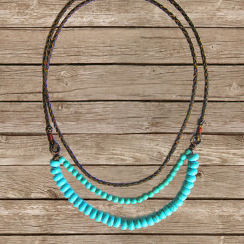 Bohemian Leather Necklace - Long Turquoise Necklace - Double Strand Necklace - Bohemina Necklace - Boho Necklace - Braided Leather Cord