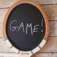 Chalkboard Vintage Tennis or  Paddle Racket Shabby Chic Old