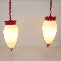 Art Deco Draped Glass Ceiling Lamps Drop Lights Swag Hanging Chandelier Pair Kitchen Hallway Living Dining Room Lighting Red Escutcheons MCM