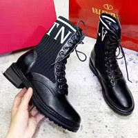 Valentino New fashion letter print shoes boots women Black