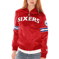 Philadelphia 76ers Starter Women's Blitz Satin Full Zip Jacket - Red