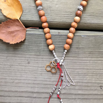 Sandalwood Silver, Canadian Made, Earth Jewelry, 108 Mala Beads, Yoga and Meditation Jewelry, Bohemian Necklace, Healing Crystals