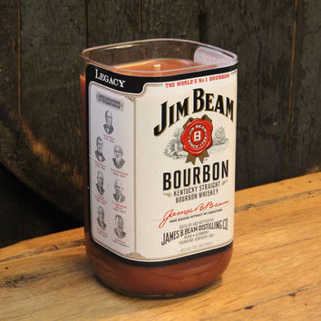 Upcycled Jim Beam Whiskey Candle -Recycled Bourbon Bottle Candle Handmade Soy Candle 1 Liter Recycled Glass Bottle 24 oz. Soy Wax