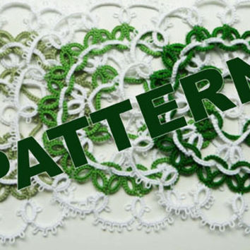 "Tatting pattern doily ""Green Apple"" - PDF pattern - shuttle tatting - needle tatting."