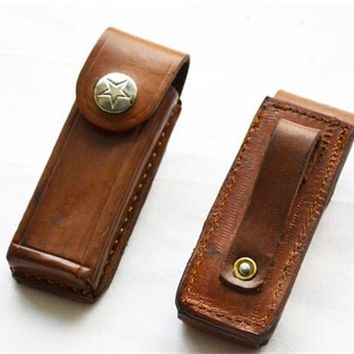 Second Hand Leather Folding Tool Sheath Keys Sheath Knife  Belt Sheath Pouch Free Shipping 12001436