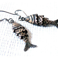 Articulated Fish Earrings Sterling Silver Retro 70's