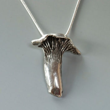 Mushroom Necklace, Sterling Silver Chanterelle, 925 Silver Mushroom Pendant, Nature Necklace, Organic Jewelry, Recycled Silver