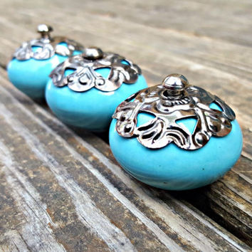 Blue Ceramic Decorative Knobs Shabby Chic Drawer Pulls Sky Blue Gunmetal Knobs Shabby Chic Knobs Dresser Hardware Glass Knob Cabinet Knobs