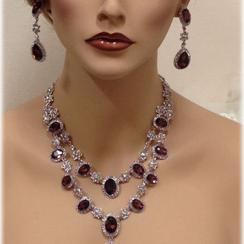 Wedding jewelry set, vintage inspired Marsala crystal necklace statement earrings, Wine red crystal jewelry set