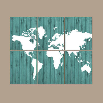 WORLD MAP Wall Art Bedroom Artwork Home Decor Wood Effect Custom Colors Desk Office Library Room Set of 6 Prints