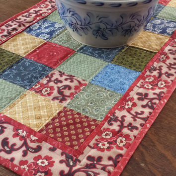 Quilted Table Runner, country runner,patchwork runner, 31 x 16 assorted country fabrics, blue, green, red, gold, off white