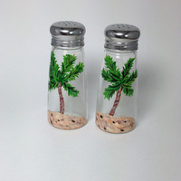 Salt and Pepper Shaker Set with Hand Painted Palm Trees