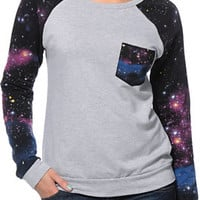 Lira Girls Galactic Heather Grey Crew Neck Sweatshirt