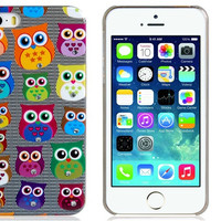 Crystal Decorated Owl Print Plastic Protective Case for iPhone 5S/5