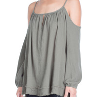 Fray Cold-Shoulder Top-FINAL SALE