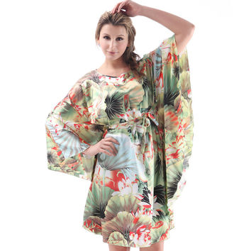 Spring Summer Autumn Dressing Gown Faux Silk Indoor Clothing Women Pyjamas Mini Nightgowns Of Home Clothing For Sleep YTWP01