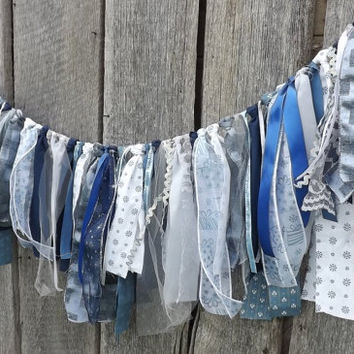 Blue Christmas Garland, 3 Foot Rustic Fabric Banner, Holiday Party Decoration, Winter Home Decor, Photo Prop, Ready To Ship