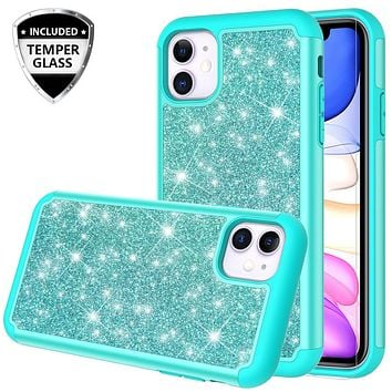 Apple iPhone 11 Case, Glitter Bling Heavy Duty Shock Proof Hybrid Case with [HD Screen Protector] Dual Layer Protective Phone Case Cover for Apple iPhone 11 - Teal