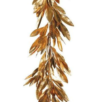 Artificial Gold Bay Leaf Garland - 6' Long
