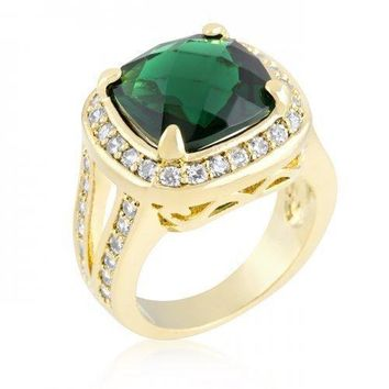 Cushion Cut Emerald Green Cocktail Ring (size: 08) (pack of 1 ea)