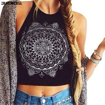 Summer Women Print Halterneck Crop Top Sexy Backless Sleevess Floral Vest Tank Tops Beach Party Blouse