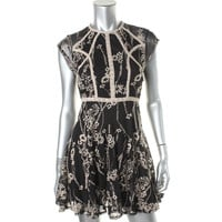Free People Womens Sheer Embroidered Casual Dress