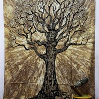 Brown Tree of Life Boho Wall Bed Bohemian Tapestry