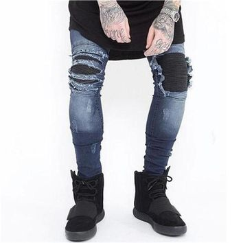 Skinny Jeans Men Ripped Slim Blue Black Stretch Hole Distressed Mens Biker Jeans Streetwear Hip Hop Moto Denim Pants Jogger 2017