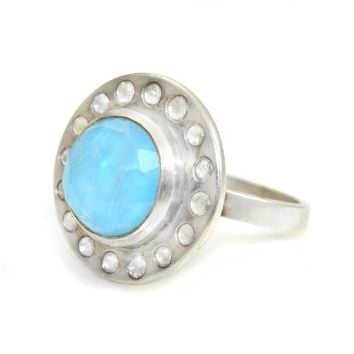 Ring Diamond Halo with Turquoise