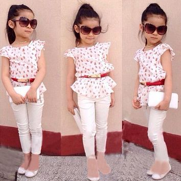 TZ331 Girls clothes summer 2017 girls clothes sets children's clothing floral girls shirts + pants children clothing sets 2-7y