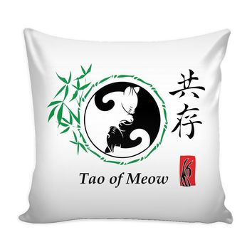 Yin And Yang Cat Graphic Pillow Cover Tao Of Meow