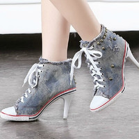 Free shipping 2013 New arrival brand fashion lace up denim rivet high-heeled canvas sneakers Frayed shoes martin boots H39001