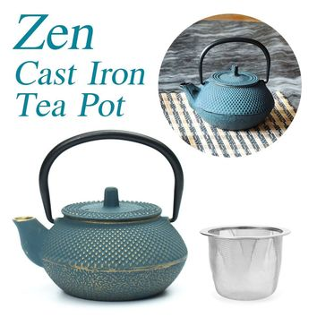 300ml Stainless Steel Strainer Teakettle Genuine Blue Iron Tea Pot Set Japanese Teapot Tetsubin Kettle Drinkware Kung Fu Tools