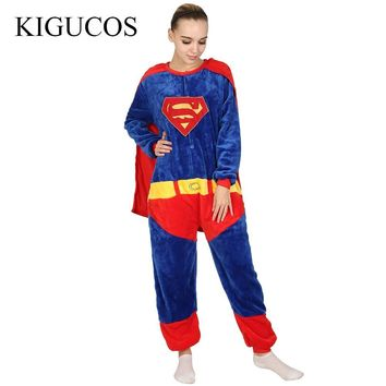 Batman Dark Knight gift Christmas KIGUCOS The Avengers Halloween Superman Cosplay Costume Batman Flannel Warm Pigiama Spiderman Adult Unisex Onesuits Pajamas AT_71_6