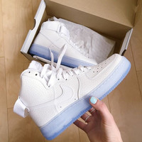 NIKE Women Men Running Sport Casual Shoes Sneakers Air force High tops and low tops White Scale