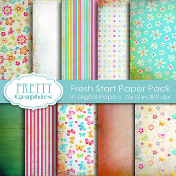 DIGITAL PAPERS - Fresh Start - Commercial Use - Instant Downloads - 12x12 JPG Files - Scrapbook Papers - High Quality 300 dpi