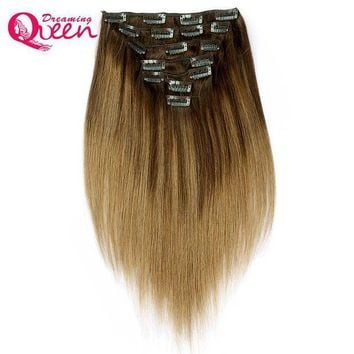 VONE059 Dreaming Queen Hair b2/8 Piano color Clip In Straight Hair Extensions 100% Brazilian Remy Human Hair 7 Pieces/Set 120g 16 Clips