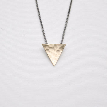 14k Yellow Gold Filled Triangle Necklace - Black Oxidized Sterling Silver Delicate Chain or Gold Plated Chain - Simple Everyday Necklace