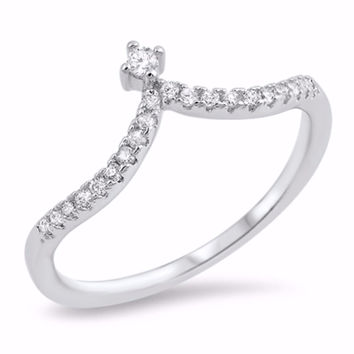 Sterling Silver CZ Simulated Diamond Tiara Ring