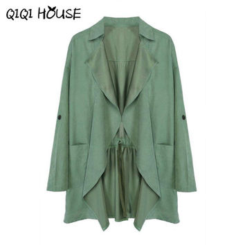 Windbreaker Women Green Elegant Outwear Coat Pocket Kimono Cardigan Office Ladies Waer Chalecos Mujer Manga Larga#C817 SM6