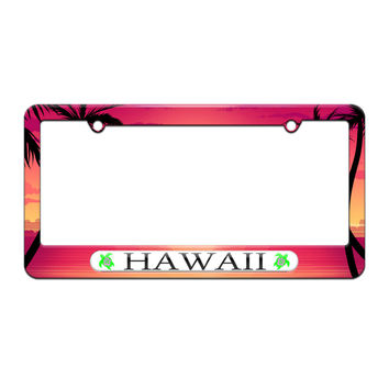 Hawaii Love - Turtle - Hibiscus - License Plate Tag Frame - Beach Sunset Palm Trees Design
