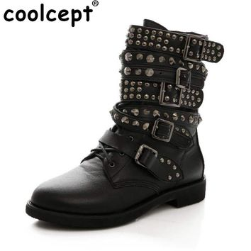 Coolcept Size 35-43 Women Genuine Leather Flats Boots Rivet Metal Buckle Mid Calf Boots Warm Fur Shoes For Winter Women Footwear