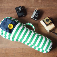 Soprano ukulele case - Green and White Stripe Ukulele Bag (Ready to ship)