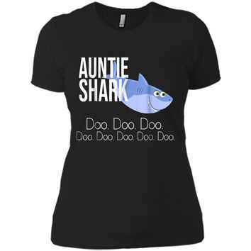 """Auntie Shark"" Baby Mommy Daddy Matching Family Shark  Next Level Ladies Boyfriend Tee"