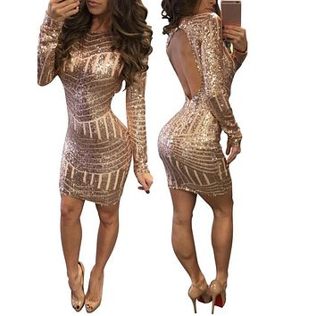 Women's Sexy Long Sleeve Causal Sparkly Bodycon Mini Dress