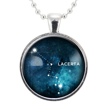 Lacerta Star Constellation Necklace, Science Geek Jewelry, Homemade Astrology Pendant Necklace