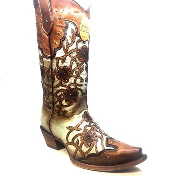 Corral Women's Mint/Maple Floral Vintage Cowboy Boots