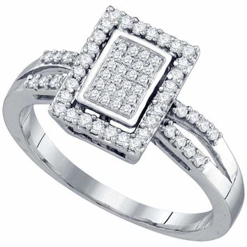 10kt White Gold Women's Round Diamond Rectangle Frame Cluster Ring 1-3 Cttw - FREE Shipping (US/CAN)